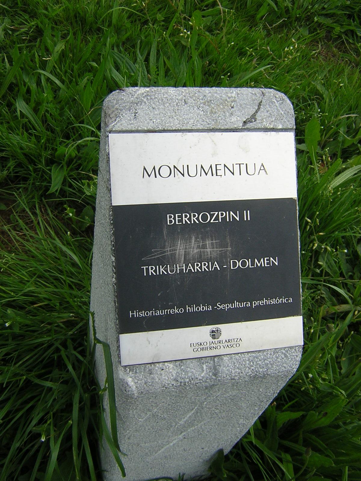 Dolmen Berrozpin 2 Trikuharria