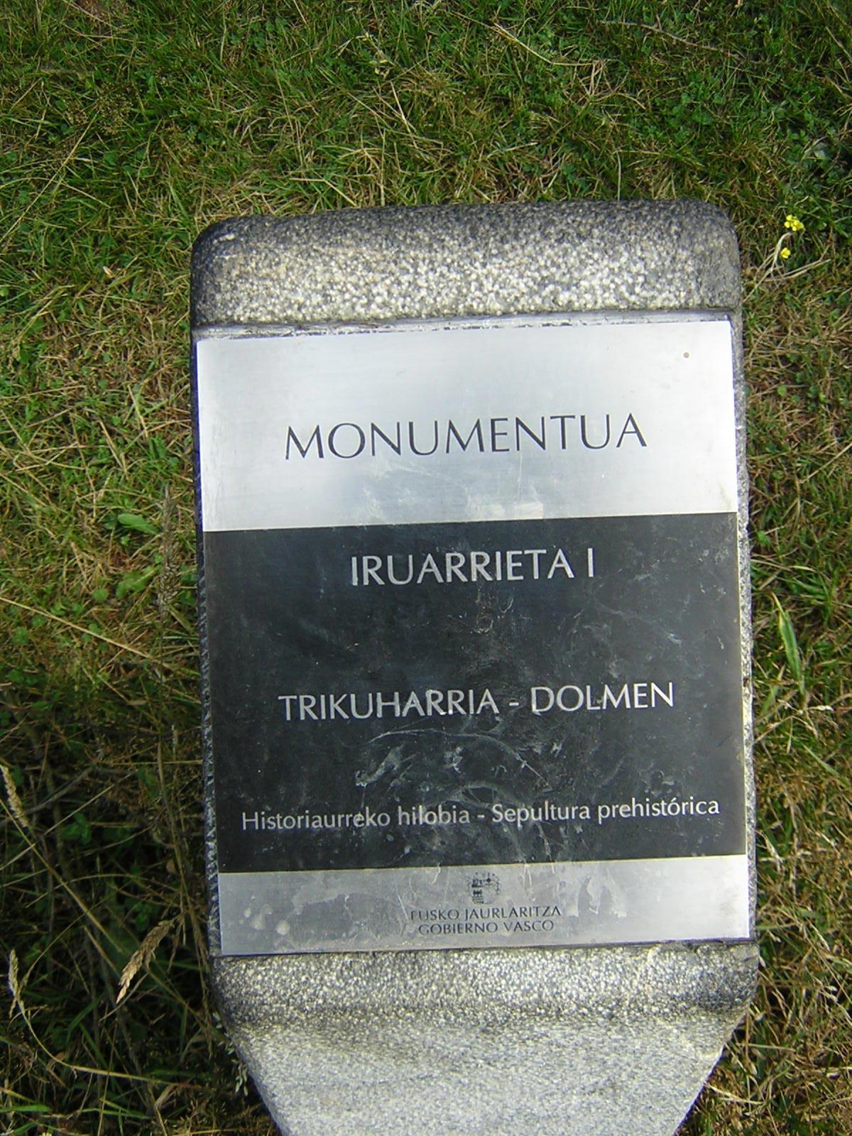 Dólmen Iruarrieta 1 Trikuharria